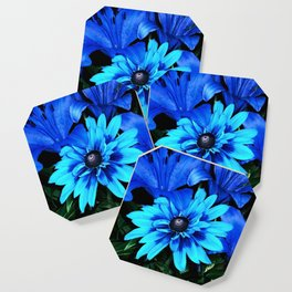 Electric Blue Flowers Coaster