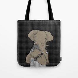 Hipster Elephant  mixed media digital art collage Tote Bag