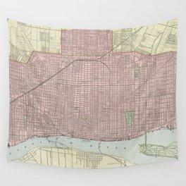 Vintage Map of Detroit Michigan (1901) Wall Tapestry
