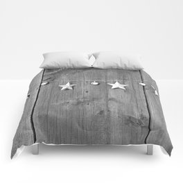 Stars on Wood (Black and White) Comforters