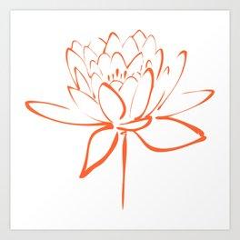 Lotus Blossom Calligraphy Orange Art Print