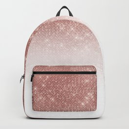 Girly Faux Rose Gold Sequin Glitter White Ombre Backpack