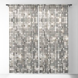 Silver disco glitter and sparkles Sheer Curtain
