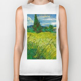 Green Wheat Field with Cypress Painting by Vincent van Gogh Biker Tank
