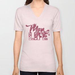Mom LIFE Pink Glitter Unisex V-Neck