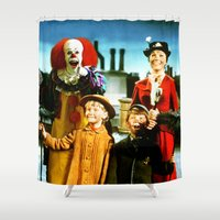 mary poppins Shower Curtains featuring PENNYWISE IN MARY POPPINS by Luigi Tarini