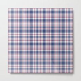 The checkered pattern . Scottish . Blue, red ,white . Metal Print