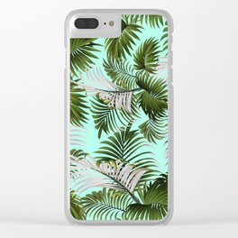 Tropical Leaf Pattern II Clear iPhone Case
