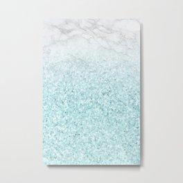 She Sparkles - Turquoise Sea Glitter Marble Metal Print