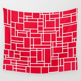 GRID w/red Wall Tapestry