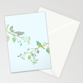Birds on Branches Love Bird Couple Vintage Floral Pattern Green Yellow Blue Stationery Cards