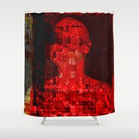 code Shower Curtains featuring Red code by Jean-François Dupuis