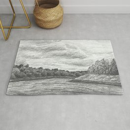 Riverscape, pencil drawing Rug