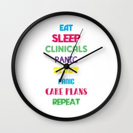 Eat Sleep Nurse Repeat Doctor Medical Health Check Nursing Aide CNA Physician Medic Hospital Gift Wall Clock