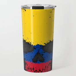 Flag of Colombia on a Chaotic Splatter Skull Travel Mug