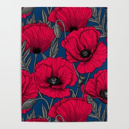 Night poppy garden  Poster