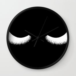 black and white eyelashes Wall Clock