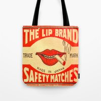 lip Tote Bags featuring Lip Service by Wanker & Wanker