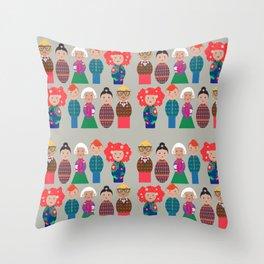Skittle people pattern Throw Pillow