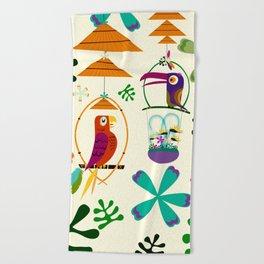 Vintage Modern Tiki Birds Beach Towel
