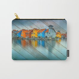 Faux Wood Blue Morning at Waters Edge Groningen Netherlands Europe Coastal Landscape Photograph Carry-All Pouch