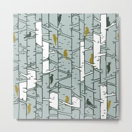 Birds and Birches Metal Print