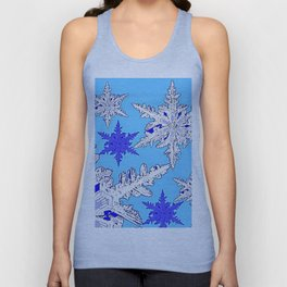 BEAUTIFUL BLUE & WHITE SNOW CRYSTALS  DESIGN Unisex Tank Top