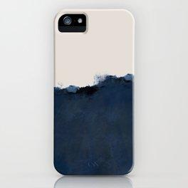 Abstract, blue, beige, indigo iPhone Case