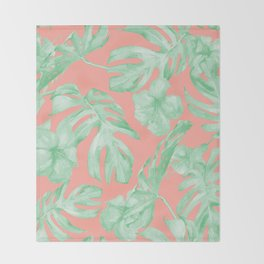 Tropical Palm Leaves Hibiscus Flowers Coral Green Throw Blanket
