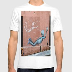 The Floating Man White MEDIUM Mens Fitted Tee