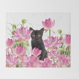 Black Cat Lotos Flower Gras Throw Blanket