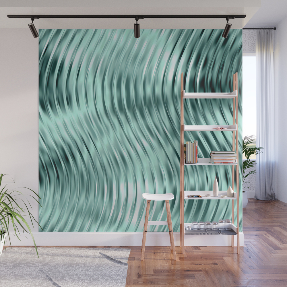 Modern Abstract Shiny Waves Glass Optical Illusion… Wall Mural by Meganmorrisart WMP8959360
