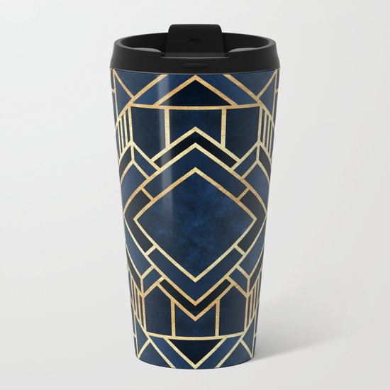 Art Deco Fancy Blue Metal Travel Mug