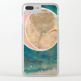 Pink Eco Print Moon Clear iPhone Case