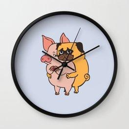Friend Not Food Pug Wall Clock
