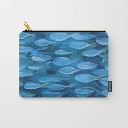 Shimmer Shoal in Blue Carry-All Pouch