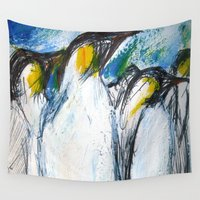 penguins Wall Tapestries featuring Penguins by James Peart