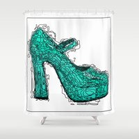 shoe Shower Curtains featuring Shoe 2 by AstridJN