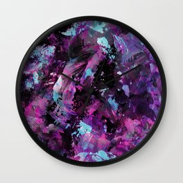 Dark Necessities - Abstract, textured, blue and purple oil painting Wall Clock