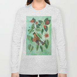 Bohemian Waxwing with Carolina Allspice, Antique Natural History Collage Long Sleeve T-shirt
