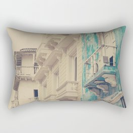 Grunge Summer Town (Retro and Vintage Urban, architecture photography, blue and cream) Rectangular Pillow