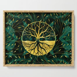 Golden Tree of Life on Malachite Serving Tray