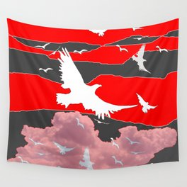WHITE BIRDS IN FLIGHT RED-GREY SKY ABSTRACT Wall Tapestry