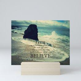 Faith quote sea waves Mini Art Print