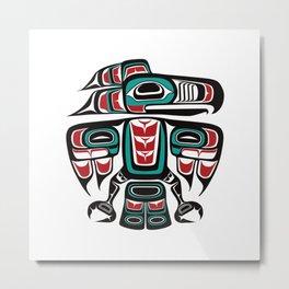 Haida Tlingit Native Raven Totem Metal Print