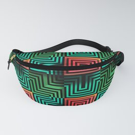 Color op art squares and striped lines with realistic effect Fanny Pack