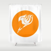 fairy tail Shower Curtains featuring Fairy Tail Segmented Logo (Guild Hall) circle by JoshBeck