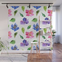 Blue, pink flowers. Watercolor florals. Botany. Wall Mural