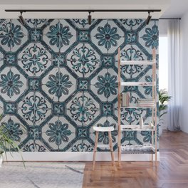 Floral ceramic tile design in blue color #Terrazzo #Blobs Wall Mural