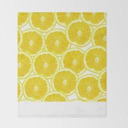 Summer Citrus Lemon Slices Throw Blanket